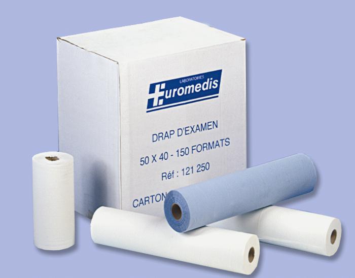 Drap d´examen, bleu, 50 x 114, 60 formats, carton de 12 pièces