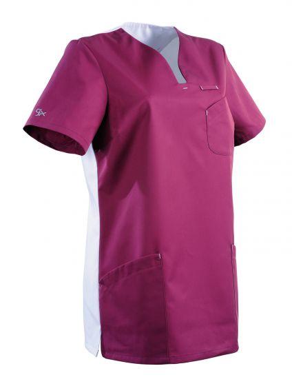 Tunique médicale femme coupe semi-cintrée MAITHE Clemix 2.0 Lafont rose / blanc
