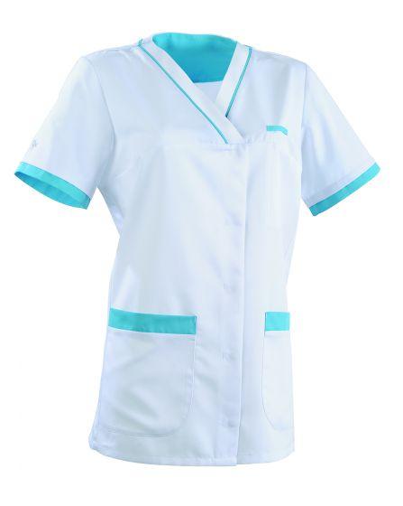 Tunique médicale femme ALEXANDRA Clemix 2.0 blanc / Turquoise