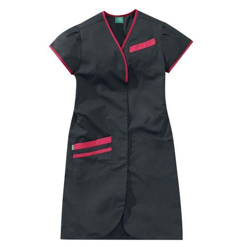 Blouse médicale femme manches courtes DAPHNEE 8PMC00PC Carbone/Rose fushia
