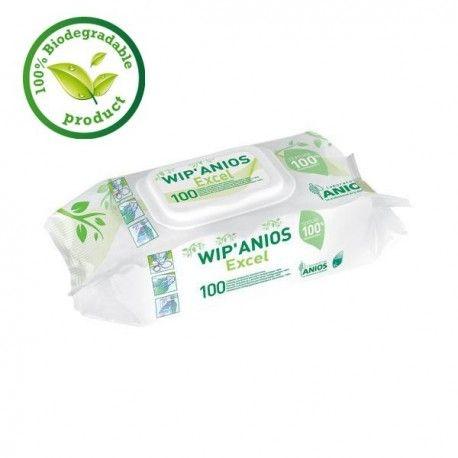 Lingettes nettoyantes 100% biodégradable Wip'Anios Excel 100 lingettes