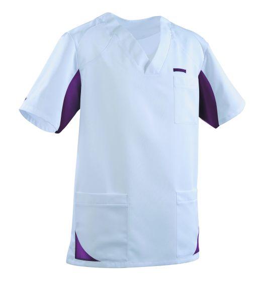 Tunique médicale Homme SANDRO Clemix 2.0 Lafont blanc / prune