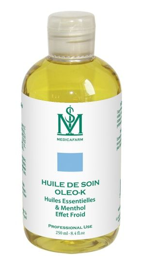 Huile de soin OLEO-K Huiles essentielles & Menthol Effet Froid Medicafarm Flacon 250 ml