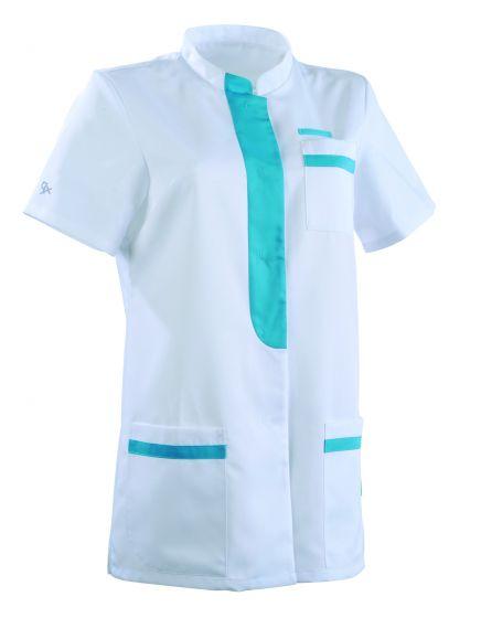 Tunique médicale femme KIM Col Officier Clemix 2.0 blanc / Turquoise