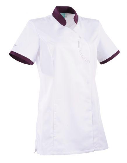 Tunique médicale femme coupe cintrée Ayako 2LIN Clemix 2.0 Lafont Blanc / prune
