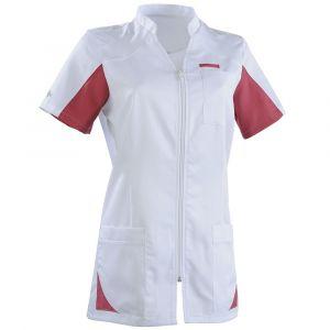 Tunique médicale femme SANDRINE Col Officier Clemix 2.0 Blanc / Cassis