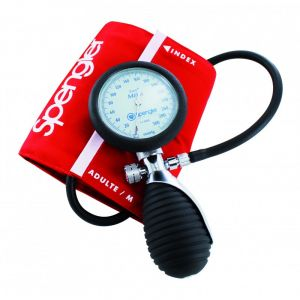 Tensiomètre manopoire ambidextre Spengler Lian® Métal avec brassard velcro coton rouge Adulte M
