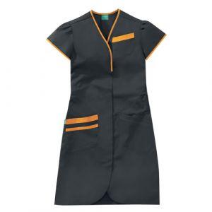 Blouse médicale femme manches courtes DAPHNEE 8PMC00PC Carbone/Orange melon