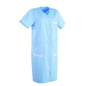 Blouse médicale femme manches courtes LISA Lafont Bleu ciel / blanc