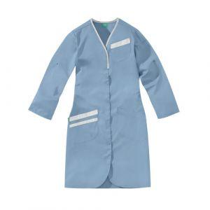Blouse médicale femme manches longues NOMIA 8MLC00PC Bleu-ciel/Blanc