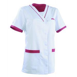 Tunique médicale femme ALEXANDRA Clemix 2.0 blanc / cassis