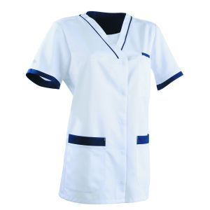 Tunique médicale femme ALEXANDRA Clemix 2.0 blanc / bleu marine