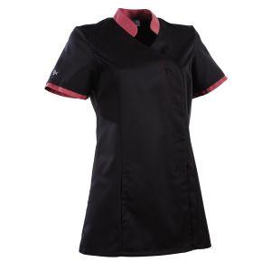 Tunique médicale femme coupe cintrée Ayako 2LIN Clemix 2.0 Lafont noir/cassis