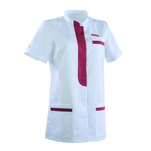Tunique médicale femme KIM Col Officier Clemix 2.0 blanc / Cassis