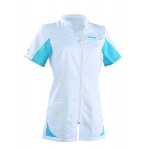 Tunique médicale femme SANDRINE Col Officier Clemix 2.0 Blanc / Turquoise