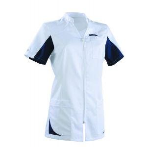 Tunique médicale femme SANDRINE Col Officier Clemix 2.0 Blanc / bleu marine