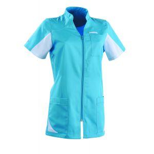 Tunique médicale femme SANDRINE Col Officier Clemix 2.0 Turquoise / Blanc
