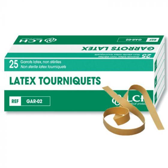 Boîte de 25 garrots en latex non stériles GAR-02 LCH
