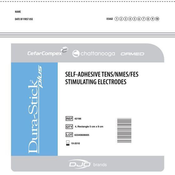 Electrodes Cefar Compex DURA STICK PLUS 4 électrodes carrées 50 x 50 mm