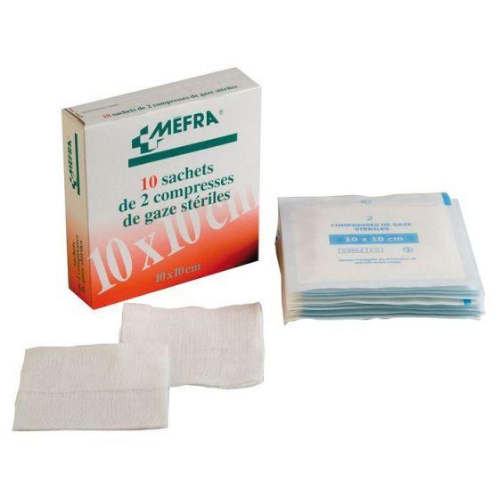 1 Boîte de compresses gaze stériles 3M Méfra, Dimensions 7,5 cm x 7,5 cm, 50 sachets