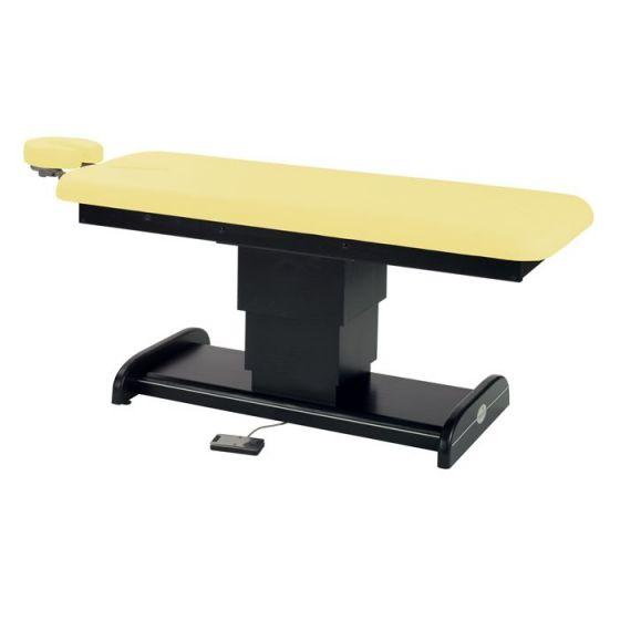 Table électrique en bois à colonne centrale Wengue Ecopostural C6101W