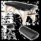 Pack Mediprem  Eco Pro Noire : Votre table de massage pliante en bois Mediprem avec tabouret et coussin de massage